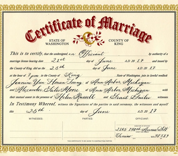 Marriage and Divorce Certificates