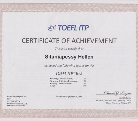 TOEFL Certificate